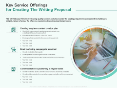 Key Service Offerings For Creating The Writing Proposal Ppt Gallery Example Topics PDF