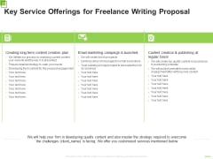 Key Service Offerings For Freelance Writing Proposal Ppt Styles Gridlines PDF