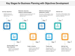 Key Stages For Business Planning With Objectives Development Ppt PowerPoint Presentation Summary Slides PDF