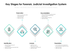 Key Stages For Forensic Judicial Investigation System Ppt PowerPoint Presentation File Templates PDF
