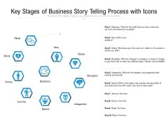 Key Stages Of Business Story Telling Process With Icons Ppt PowerPoint Presentation File Picture PDF