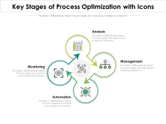 Key Stages Of Process Optimization With Icons Ppt PowerPoint Presentation Layouts Introduction PDF