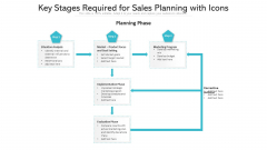 Key Stages Required For Sales Planning With Icons Ppt PowerPoint Presentation Inspiration Tips PDF