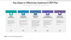 Key Steps To Effectively Implement CRM Plan Ppt PowerPoint Presentation Styles Infographic Template PDF