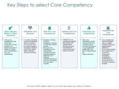 Key Steps To Select Core Competency Ppt PowerPoint Presentation Infographics Brochure