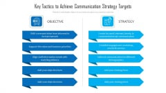 Key Tactics To Achieve Communication Strategy Targets Ppt PowerPoint Presentation Gallery Example Introduction PDF