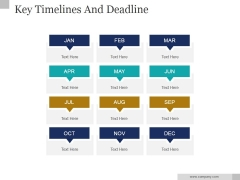Key Timelines And Deadline Ppt PowerPoint Presentation Background Image