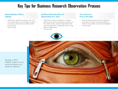 Key Tips For Business Research Observation Process Ppt PowerPoint Presentation Gallery Influencers PDF