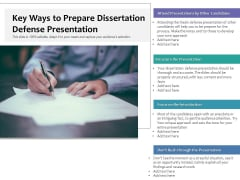 Key Ways To Prepare Dissertation Defense Presentation Ppt PowerPoint Presentation Styles Graphics Pictures PDF