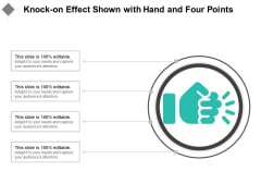 Knock On Effect Shown With Hand And Four Points Ppt PowerPoint Presentation Gallery Summary PDF