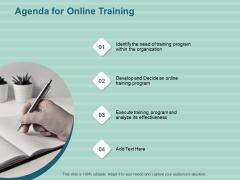 LMS Development Session Agenda For Online Training Ppt Infographics Slide PDF