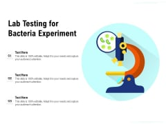 Lab Testing For Bacteria Experiment Ppt PowerPoint Presentation File Background Images PDF