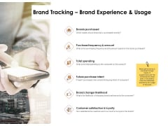 Label Identity Design Brand Tracking Brand Experience And Usage Ppt Outline Deck PDF