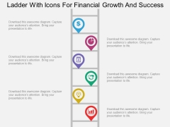 Ladder With Icons For Financial Growth And Success Powerpoint Template