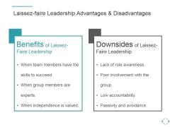 Laissez Faire Leadership Advantages And Disadvantages Ppt PowerPoint Presentation Example 2015