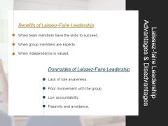 Laissez Faire Leadership Advantages And Disadvantages Ppt PowerPoint Presentation Templates