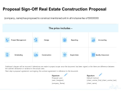 Land Holdings Building Proposal Sign Off Real Estate Construction Proposal Ppt Inspiration Example PDF