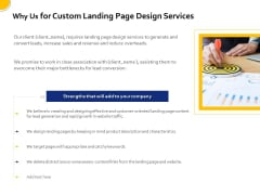 Landing Page Design And Optimization Why Us For Custom Landing Page Design Services Rules PDF