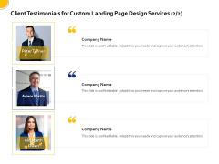Landing Page Design Optimization Client Testimonials For Custom Landing Page Design Services Alizabeth Owen Elements PDF