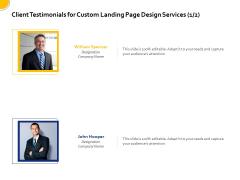 Landing Page Design Optimization Client Testimonials For Custom Landing Page Design Services Designation Brochure PDF