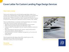 Landing Page Design Optimization Cover Letter For Custom Landing Page Design Services Information PDF