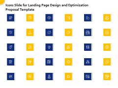 Landing Page Design Optimization Icons Slide Forlanding Page Design Optimization Proposal Template Background PDF