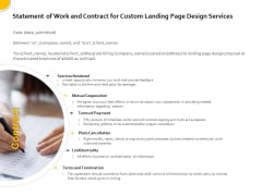 Landing Page Design Optimization Statement Of Work And Contract For Custom Landing Page Design Services Rules PDF