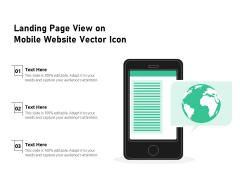 Landing Page View On Mobile Website Vector Icon Ppt PowerPoint Presentation Portfolio Slides PDF