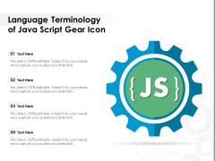 Language Terminology Of Java Script Gear Icon Ppt PowerPoint Presentation Slides Example Topics PDF