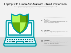 Laptop With Green Anti Malware Shield Vector Icon Ppt PowerPoint Presentation File Visuals PDF