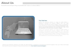 Laptop With Map For Geographical Location Powerpoint Slides