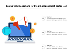 Laptop With Megaphone For Event Announcement Vector Icon Ppt PowerPoint Presentation File Visual Aids PDF