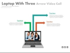 Laptop With Team Pictures For Video Conferencing Powerpoint Template