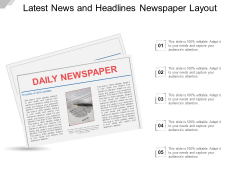 Latest News And Headlines Newspaper Layout Ppt PowerPoint Presentation Pictures Tips
