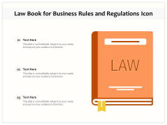 Law Book For Business Rules And Regulations Icon Ppt PowerPoint Presentation Infographic Template Diagrams PDF
