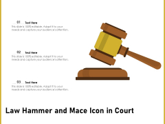Law Hammer And Mace Icon In Court Ppt PowerPoint Presentation Inspiration Rules PDF
