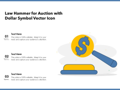 Law Hammer For Auction With Dollar Symbol Vector Icon Ppt PowerPoint Presentation Infographics Clipart PDF