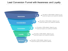 Lead Conversion Funnel With Awareness And Loyalty Ppt PowerPoint Presentation Icon Topics
