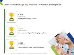 Lead Formation Agency Proposal Awards And Recognition Ppt Gallery Graphic Images PDF