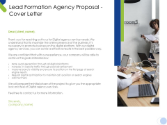 Lead Formation Agency Proposal Cover Letter Ppt Professional Brochure PDF