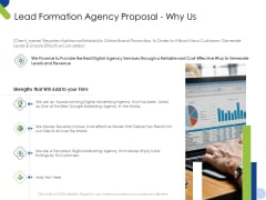 Lead Formation Agency Proposal Why Us Ppt Model Examples PDF
