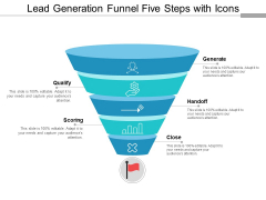 Lead Generation Funnel Five Steps With Icons Ppt PowerPoint Presentation Show Graphics Tutorials