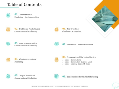Lead Generation Initiatives Through Chatbots Table Of Contents Ppt Pictures Vector PDF