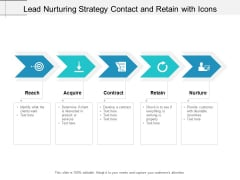Lead Nurturing Strategy Contact And Retain With Icons Ppt Powerpoint Presentation Slides Design Templates