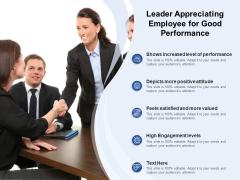 Leader Appreciating Employee For Good Performance Ppt PowerPoint Presentation File Portfolio PDF