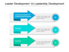 Leader Development Vs Leadership Development Ppt PowerPoint Presentation Slides Graphics Tutorials Cpb Pdf