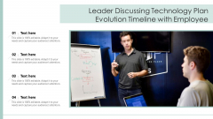 Leader Discussing Technology Plan Evolution Timeline With Employee Ppt Styles Layouts PDF
