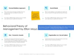 Leader Vs Administrators Behavioral Theory Of Management By Elton Mayo Formats PDF
