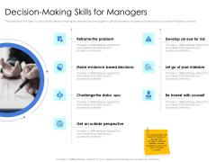 Leader Vs Administrators Decision Making Skills For Managers Ppt Slides Slideshow PDF