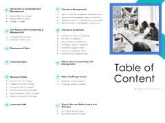 Leader Vs Administrators Table Of Content Ppt Ideas Structure PDF